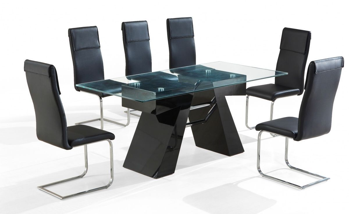 Modern black high gloss clear glass dining table and 6 chairs for Modern high dining table