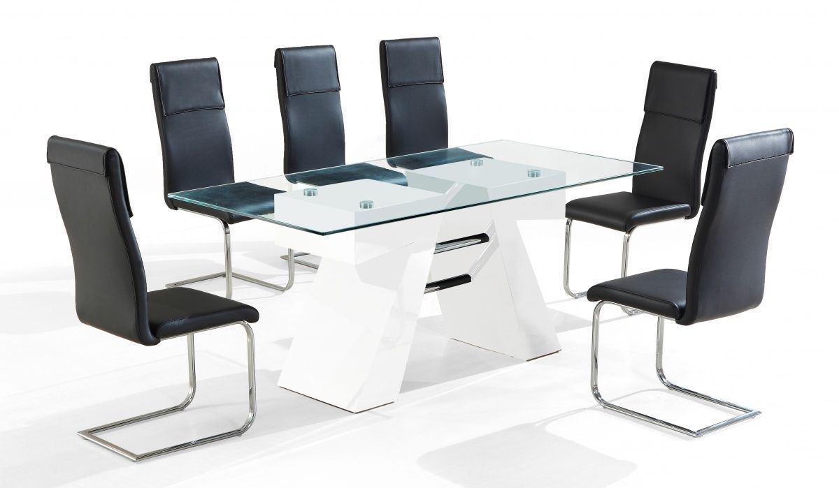 White high gloss clear glass dining table 6 chairs for White dining table 6 chairs