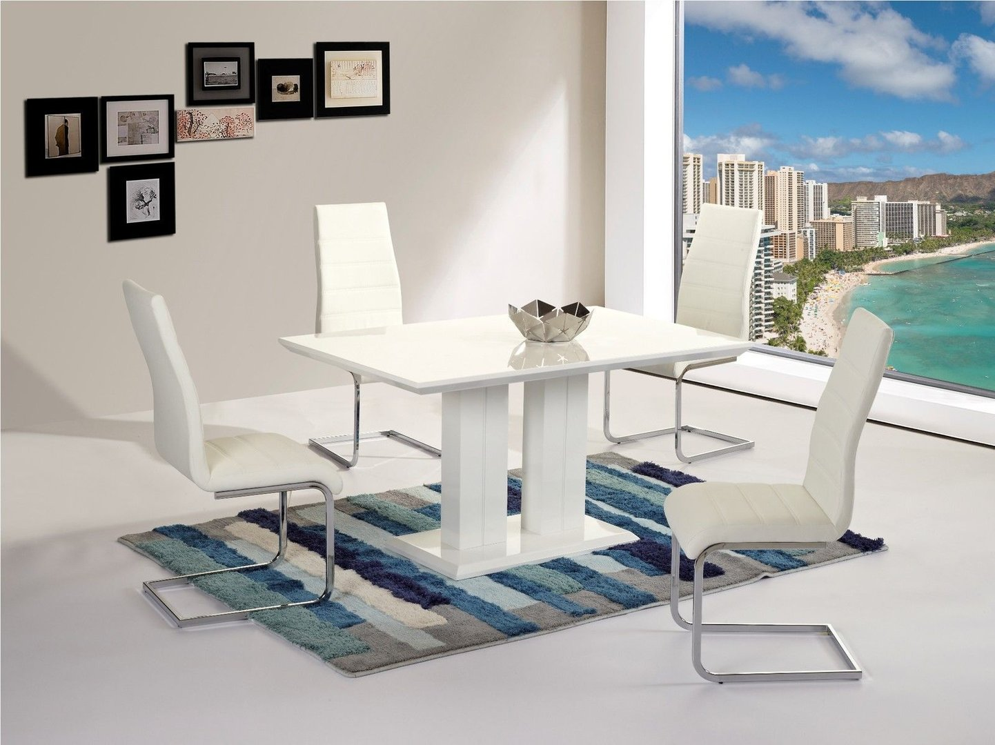 Modern full white high gloss dining table 4 chairs Homegenies