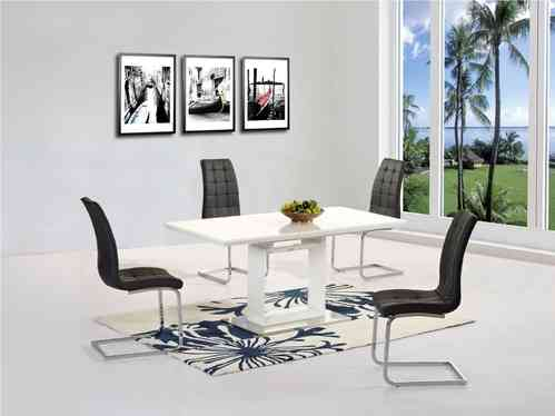Black glass high gloss dining table with 4 chairs homegenies - 6 Seater High Gloss Dining Table Sets Homegenies
