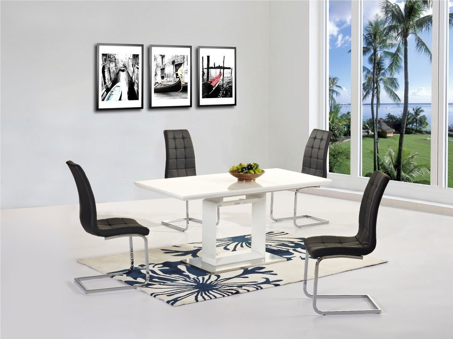 new white high gloss extending dining table and 6 black chairs set