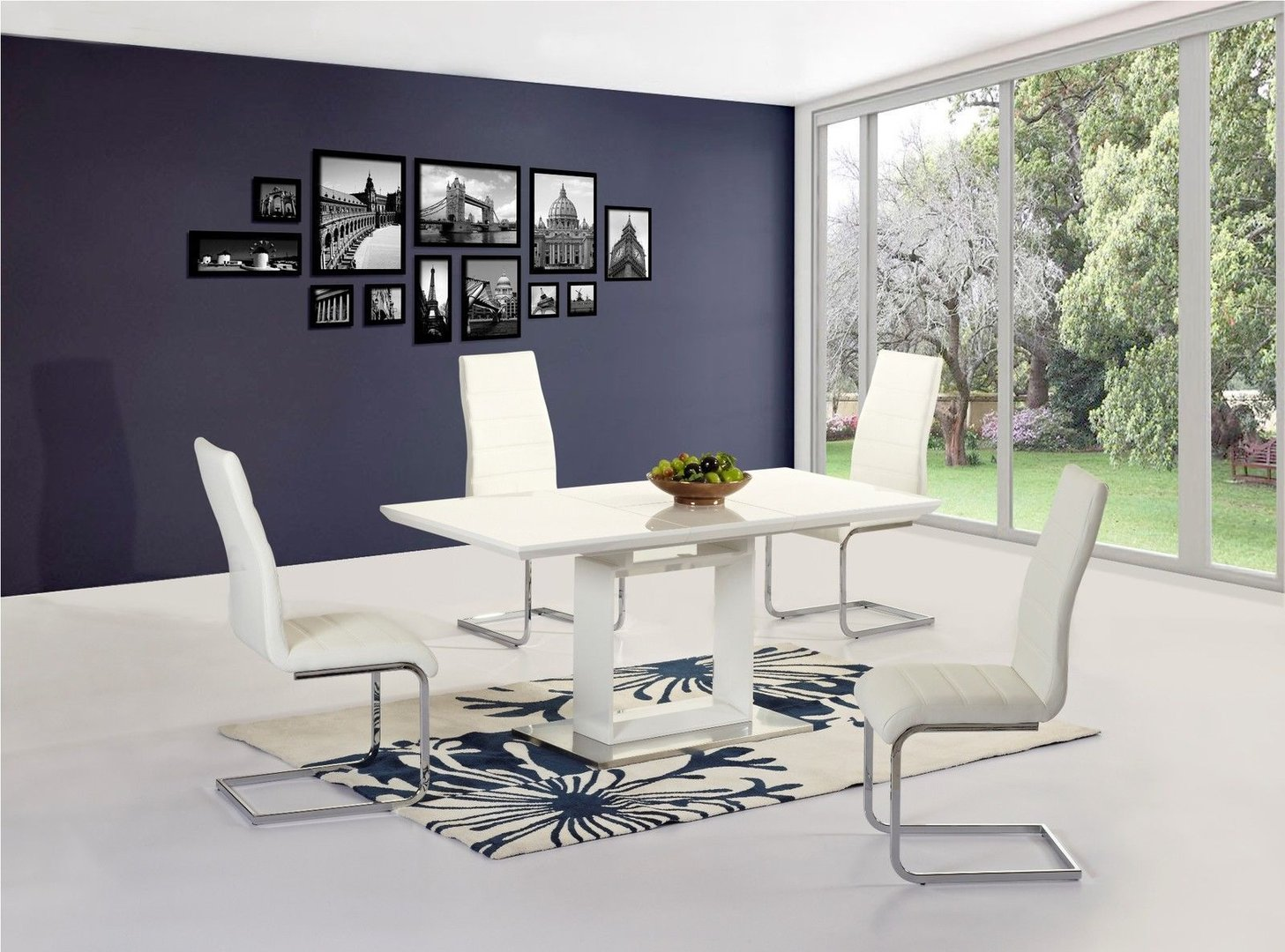 White high gloss extending dining table and 6 chairs - Homegenies
