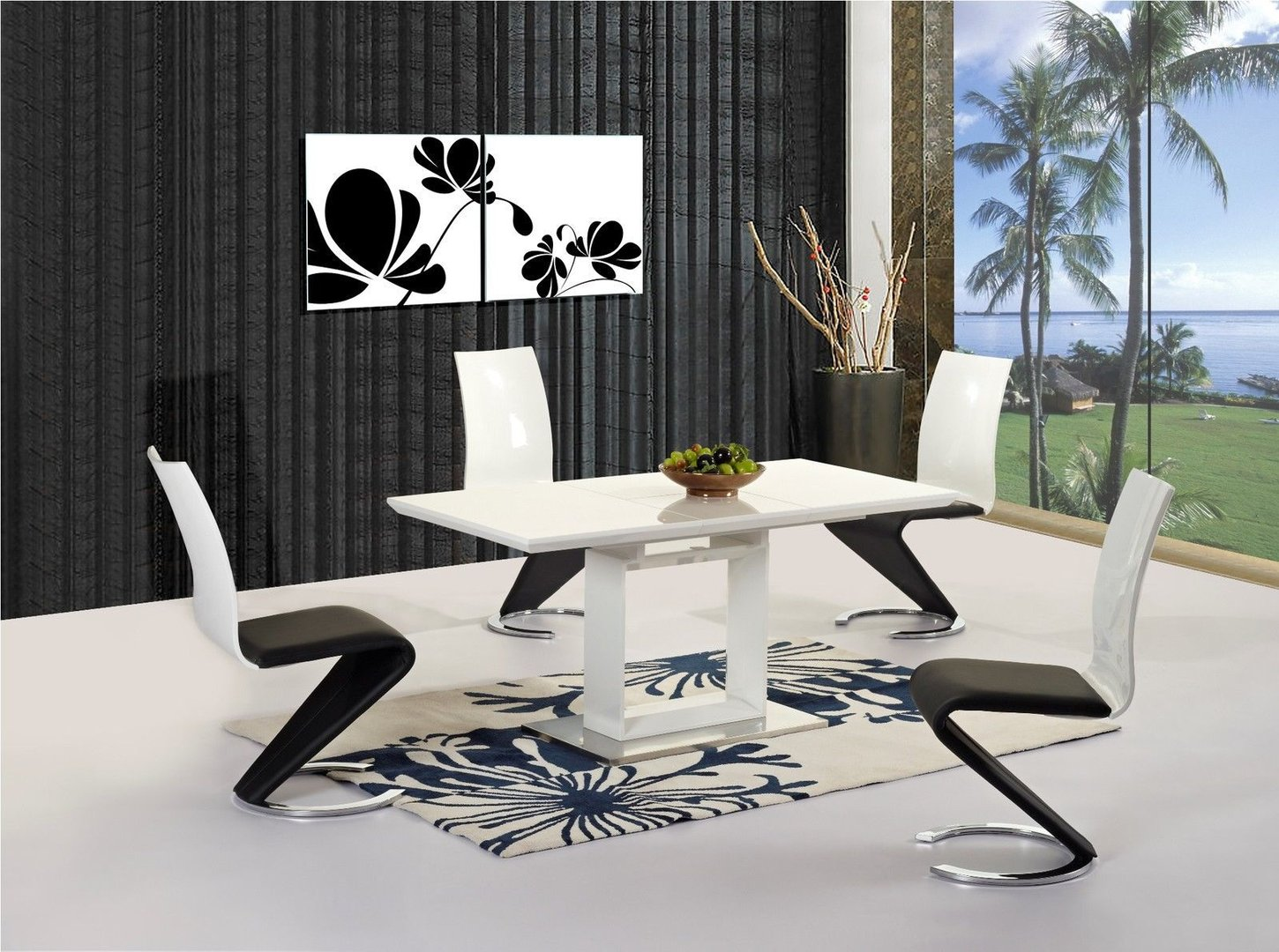 White extending high gloss dining table and 6 chairs for White dining table set