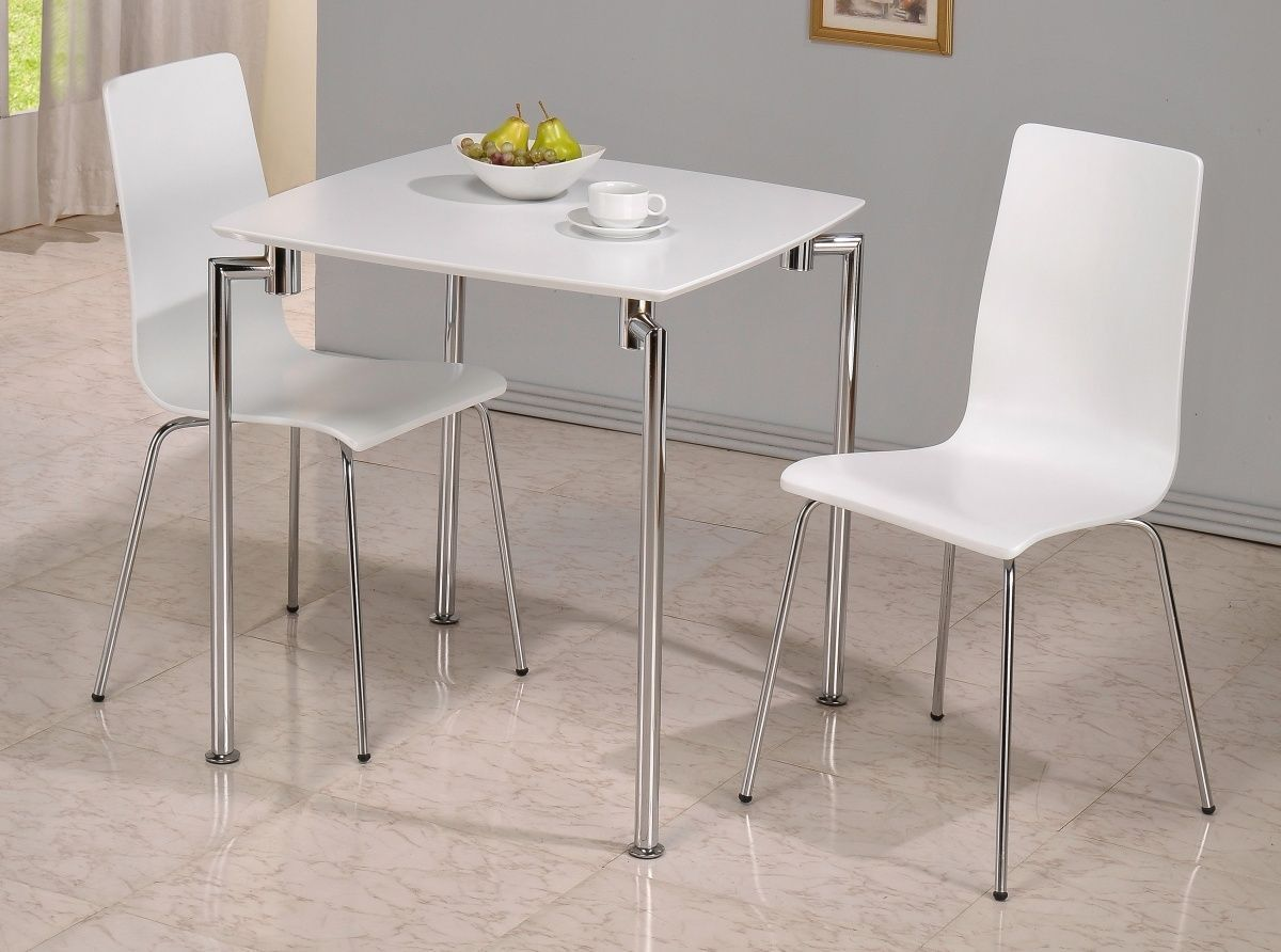 & Small white high gloss dining table and 2 chairs - Homegenies