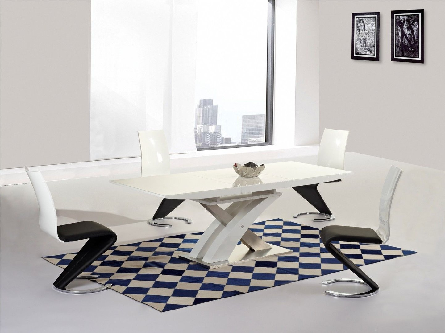 White high gloss and glass extending dining table and 6 chairs - White extending dining table and chairs ...