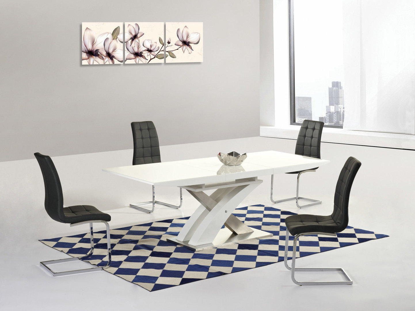 Modern White High Gloss And Glass Extending Dining Table 8 Black Chairs