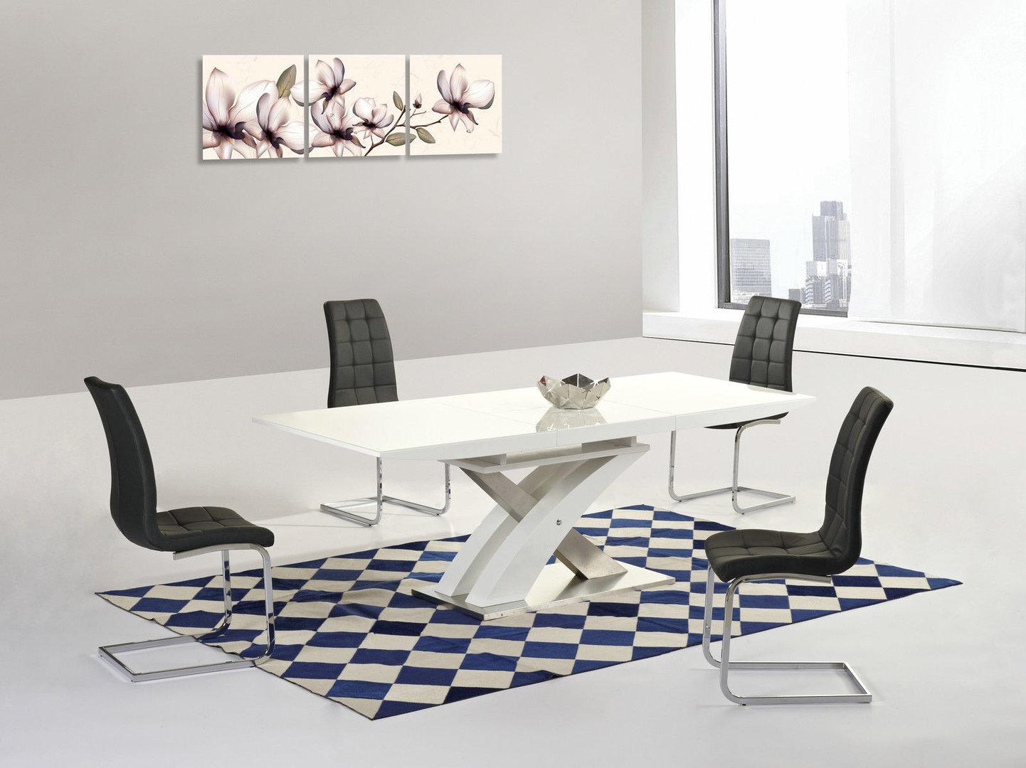 Modern White High Gloss Glass Extending Dining Table Amp 8