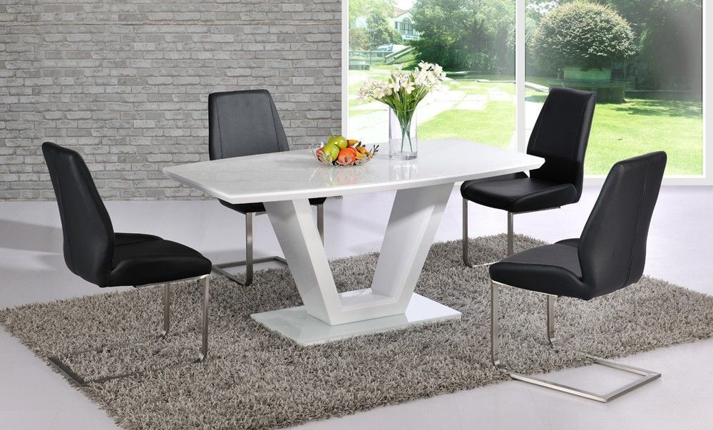 White high gloss dining table with glass top and 6 black for White dining table and 6 chairs