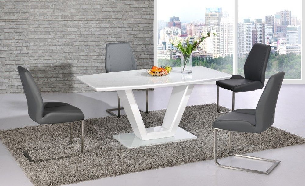 White Glass High Gloss Dining Table And 6 Grey Chairs