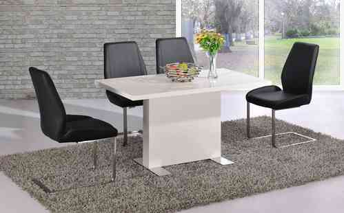 white high gloss dining table and 4 black chairs set homegenies