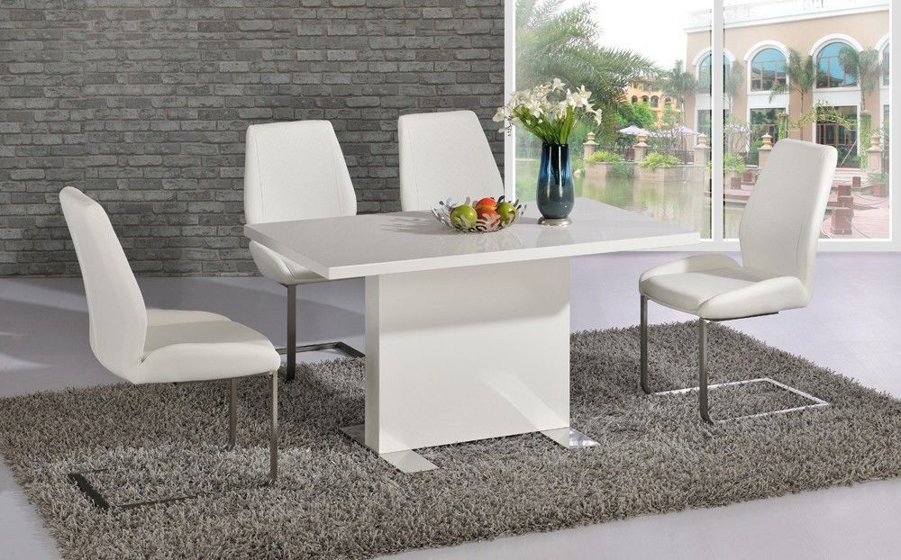 White High Gloss Dining Room Table And 4 Chairs Homegenies