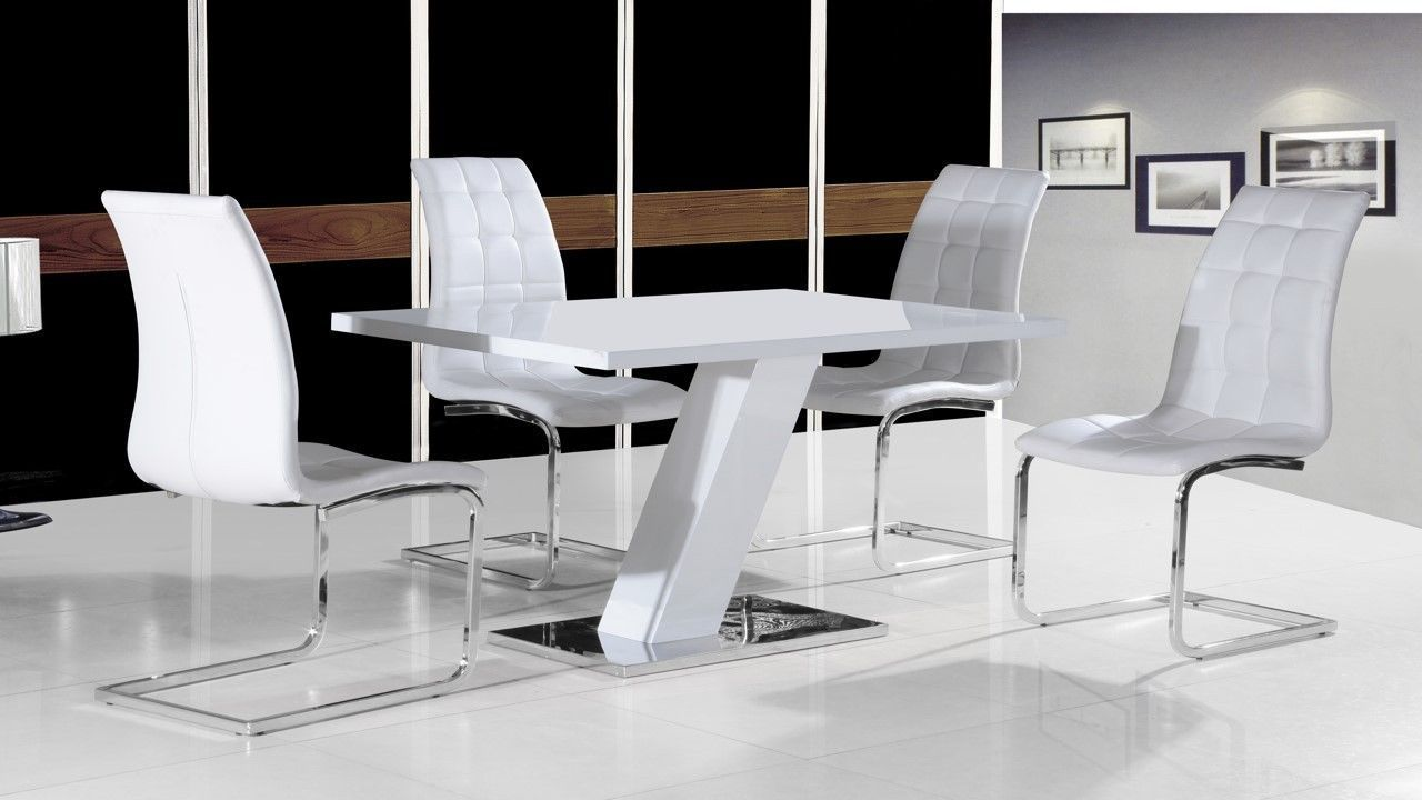 White high gloss dining table set and 4 chairs with chrome for Dining table and chairs