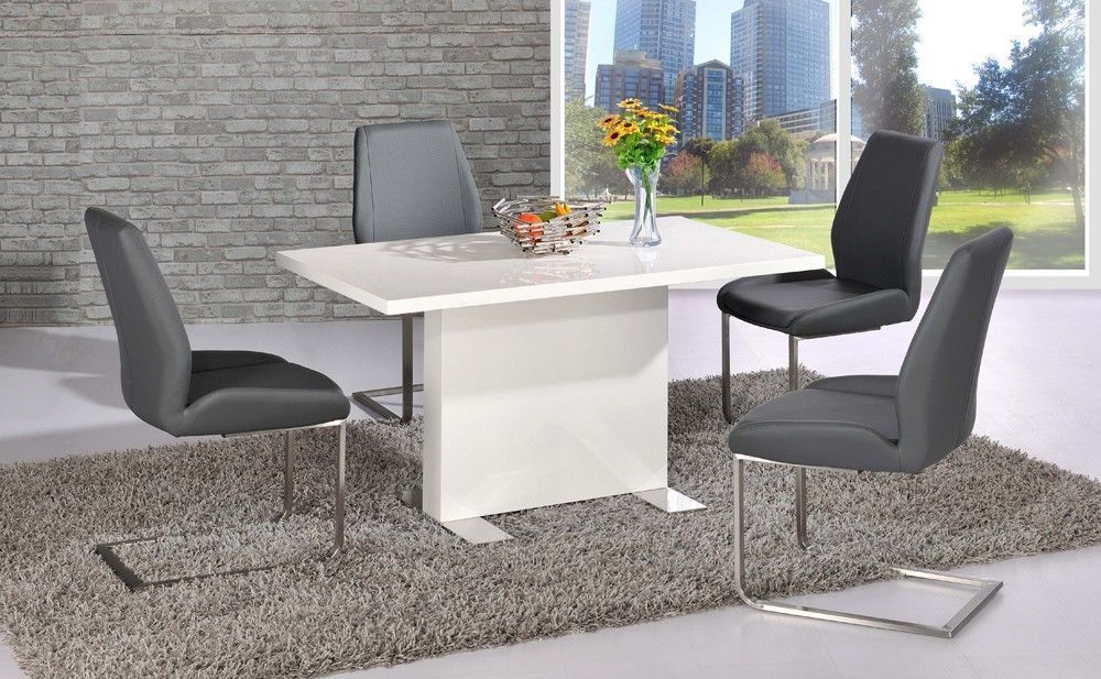 White high gloss dining table and 4 grey chairs set