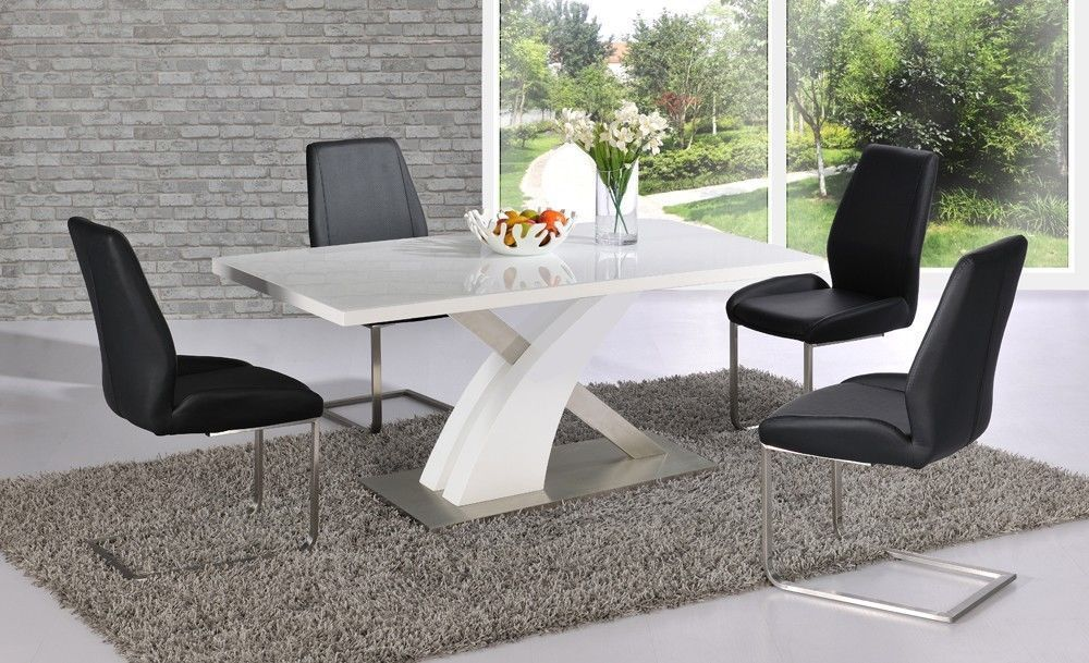 White High Gloss Dining Table Set And 6 Black Chairs