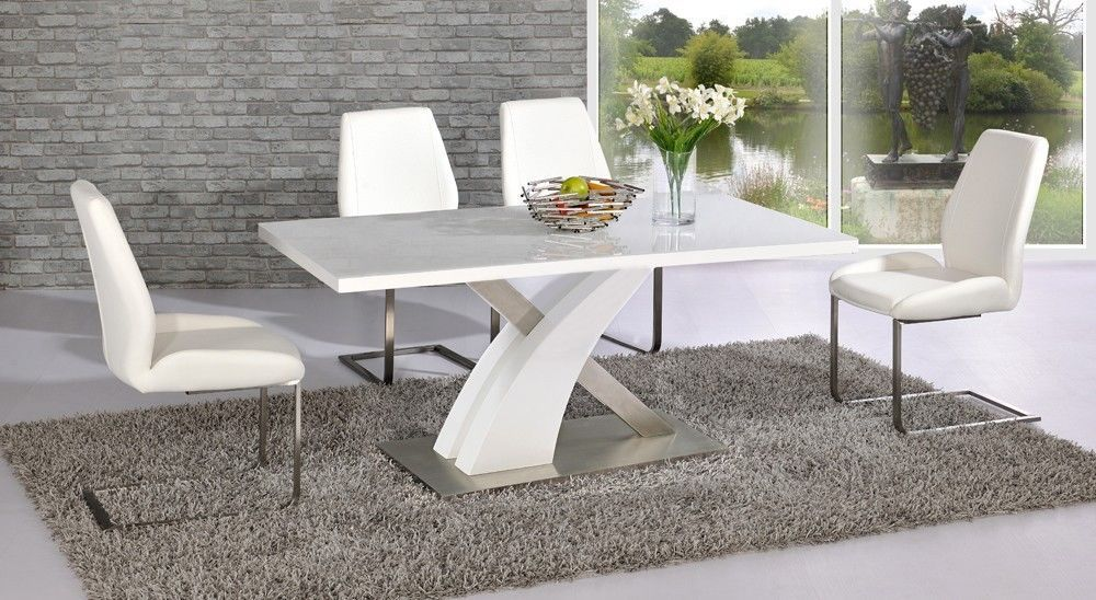 Full white high gloss glass dining table and 6 chairs ebay for White dining table 6 chairs