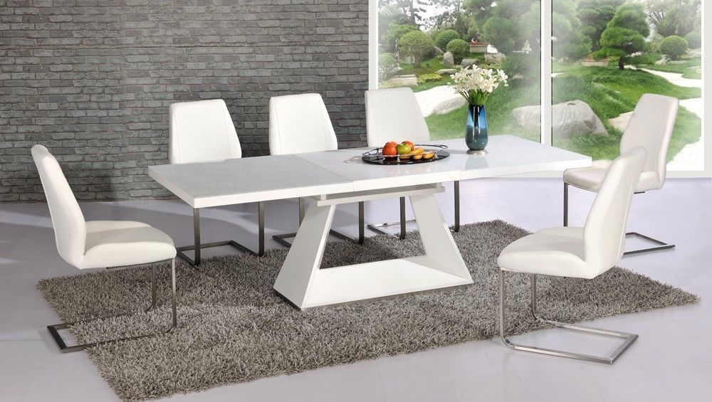 White high gloss glass dining table and 8 chairs extending for White dining table and 6 chairs