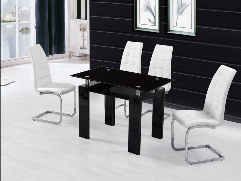 black high gloss dining table and 4 chairs