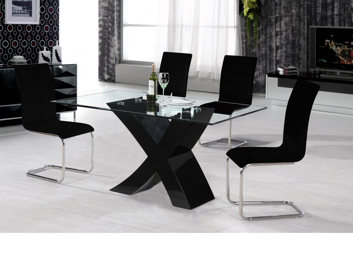 Black high gloss dining table and 4 chairs glass top for High table and chairs dining set