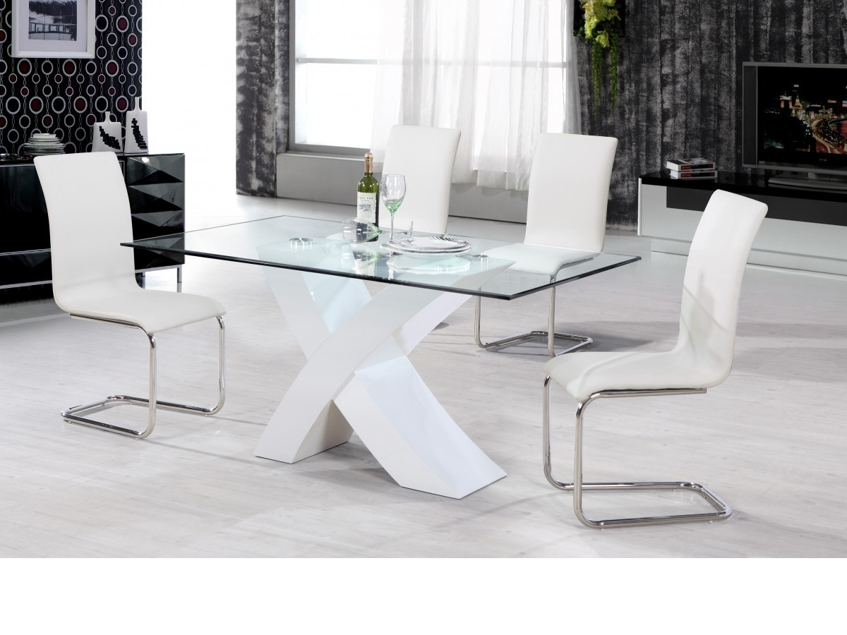 Clear Kitchen Table Part - 22: White High Gloss Dining Table U0026 4 Chairs / Clear Glass ...