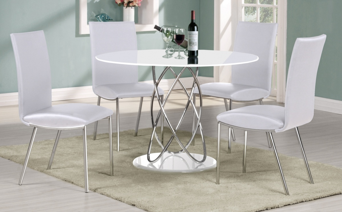 Full white high gloss round dining table 4 chairs for Round dining table set for 4