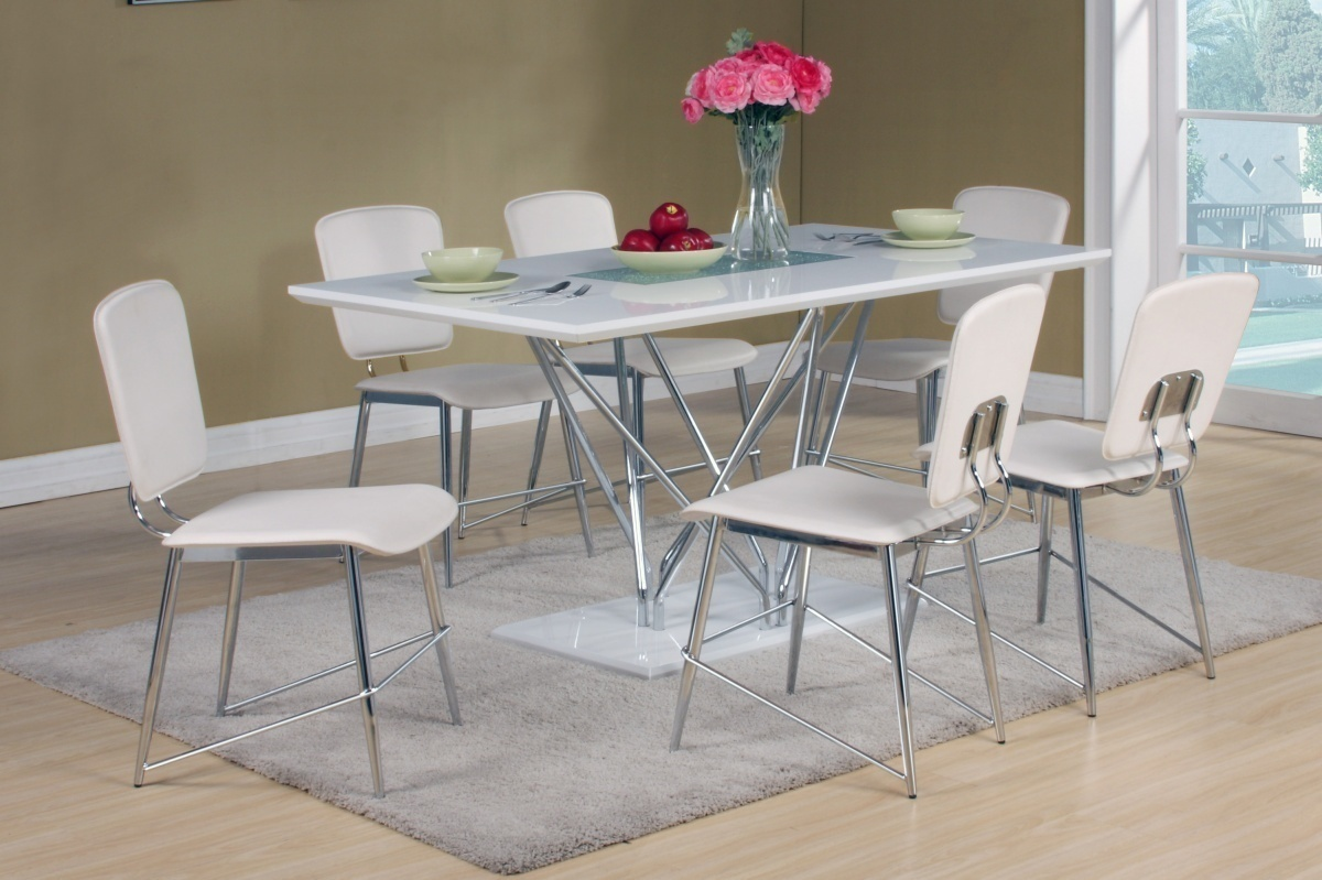 White high gloss dining table and 6 matching chairs for White high gloss dining table