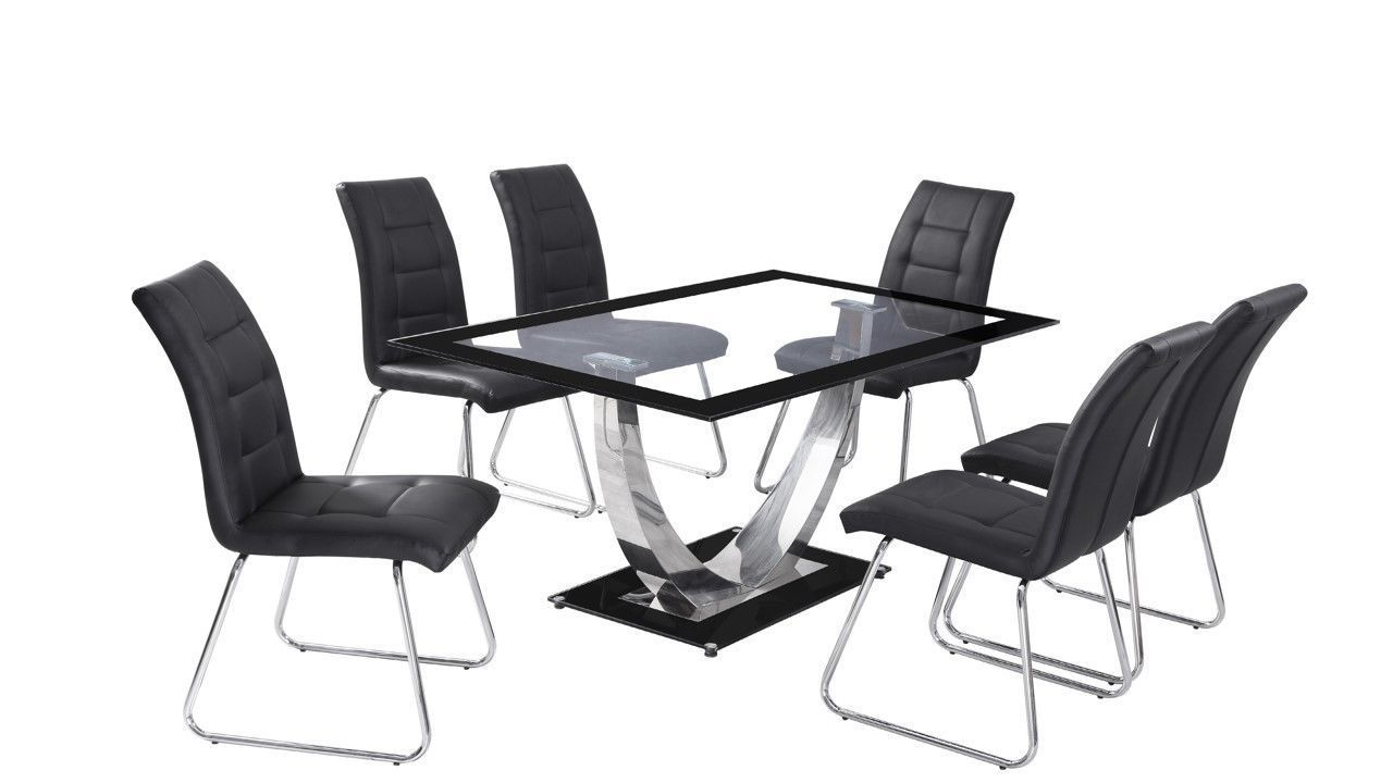 Black boarder clear glass dining table and 4 chairs for Black dining table and 4 chairs