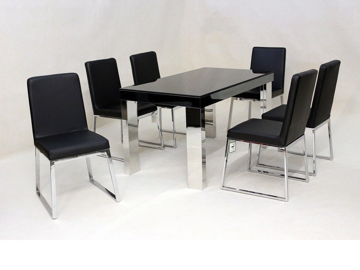 black glass chrome dining table and 6 chairs homegenies. Black Bedroom Furniture Sets. Home Design Ideas