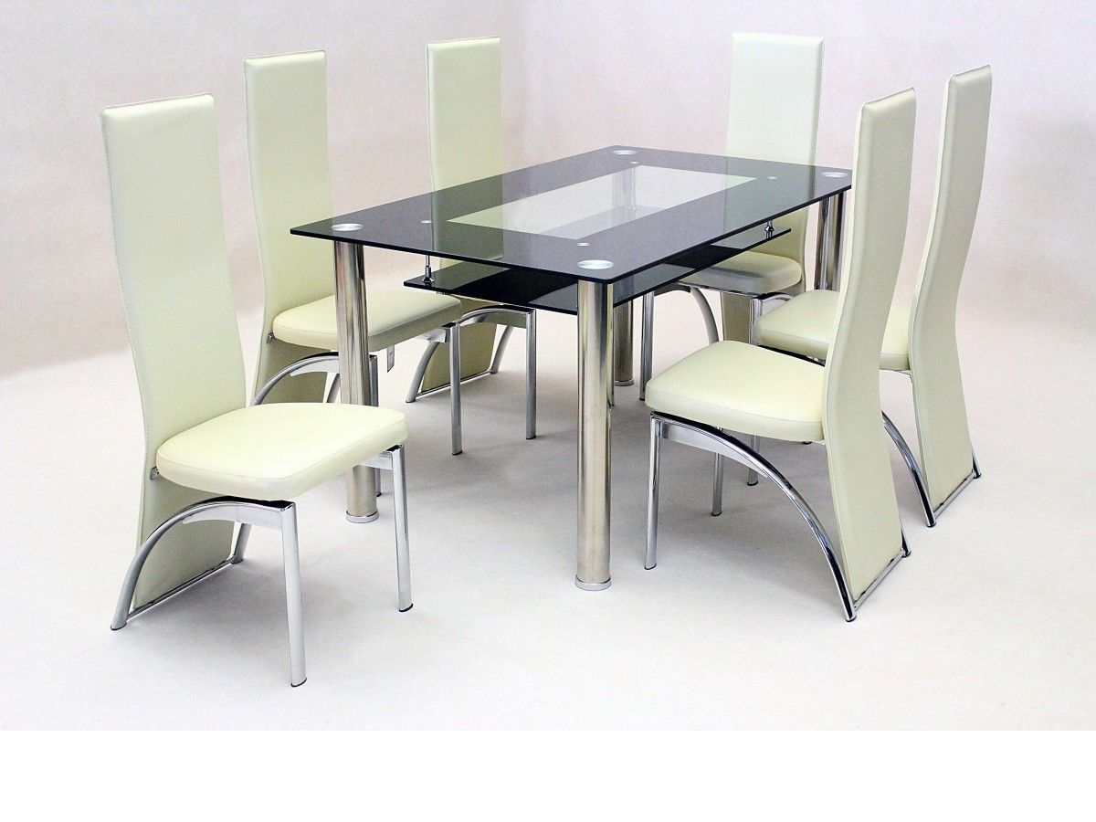 Black glass dining table and 6 faux chairs in cream for Dining chairs and tables