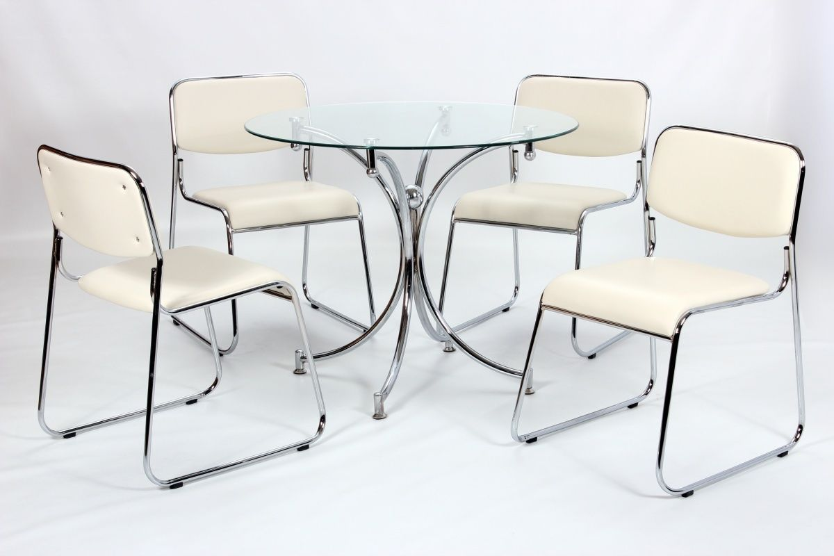 Modern small round glass dining table and 4 chairs for Round dining table set for 4