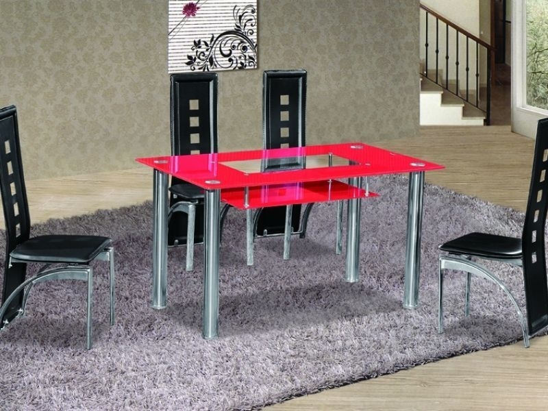Red Glass Dining Table And 4 Black Chair Set ...