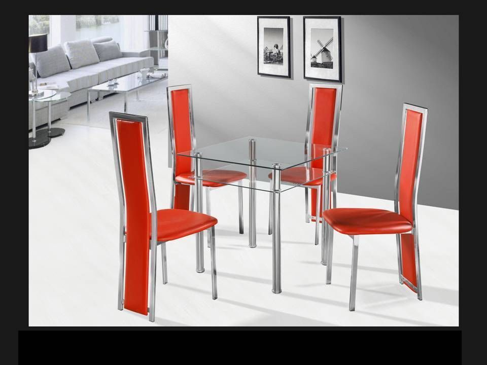 Square Clear With Chrome Glass Dining Table And 4 Red Chairs