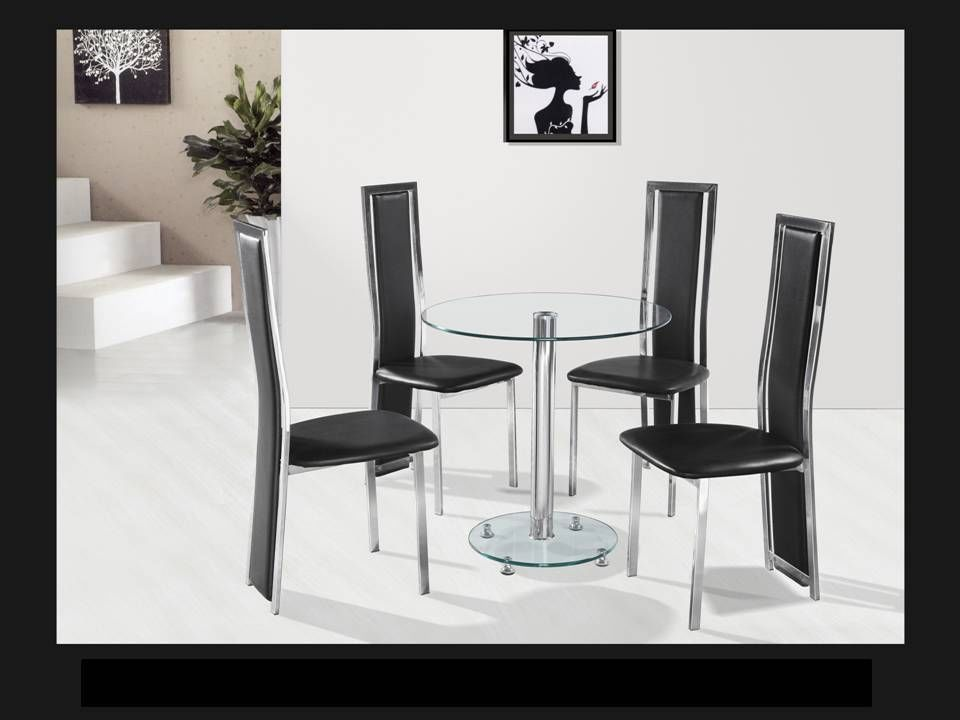 Round Clear Glass Chrome Dining Table And 4 Black Chairs