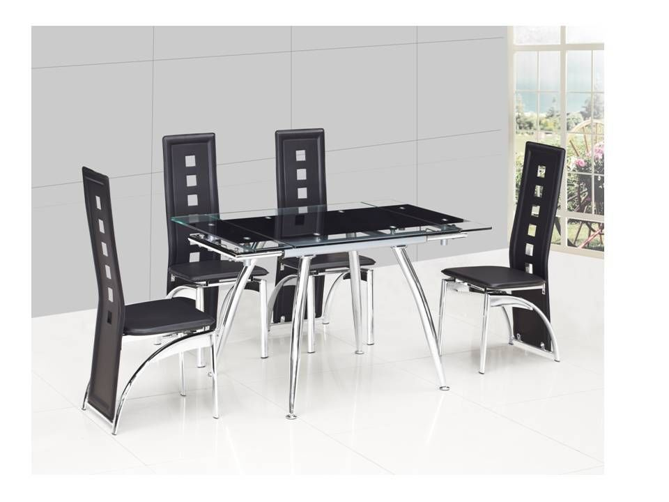 Small black extending glass dining table and 4 black chairs for Black dining sets with 4 chairs