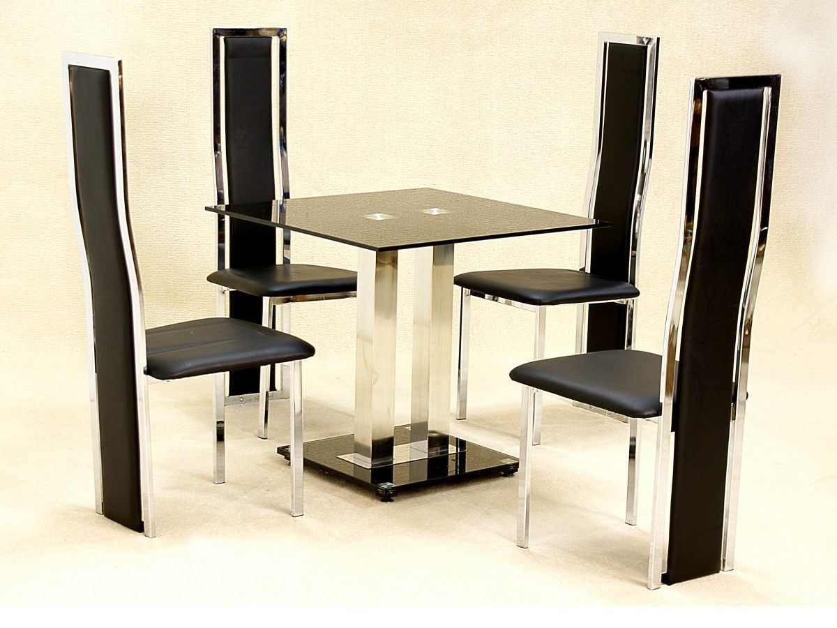 Small square glass dining table and 4 faux chairs in black for Compact dining table 4 chairs