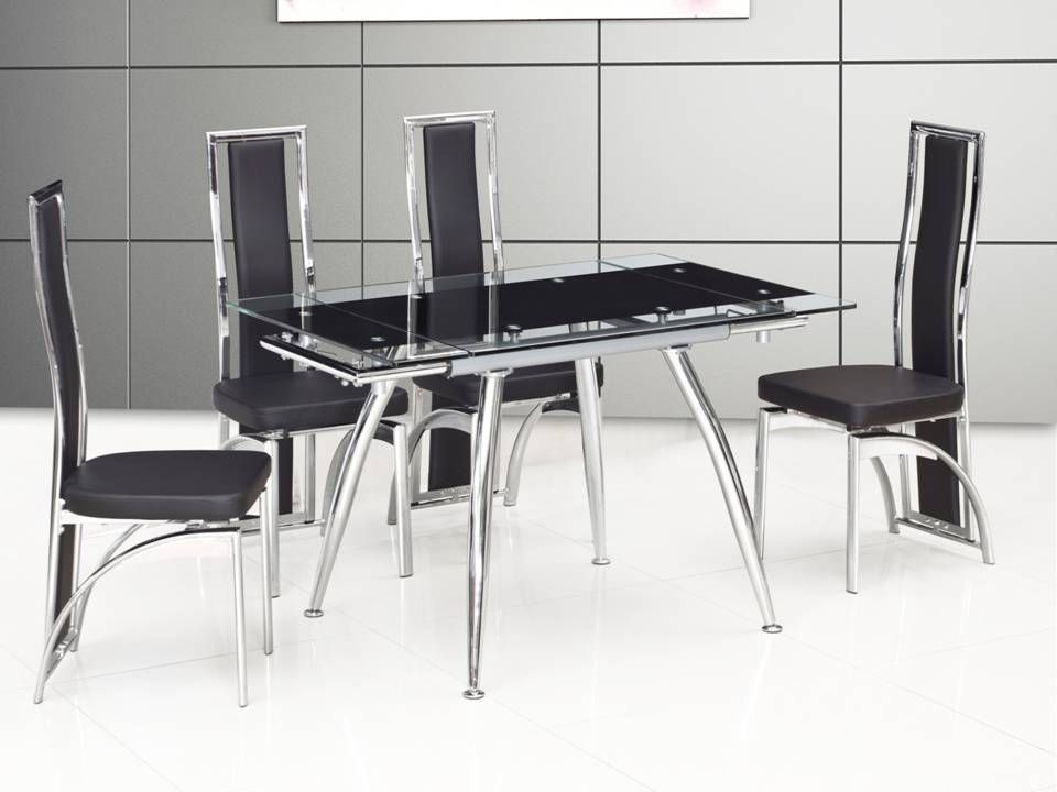 Small black extending glass dining table and 4 chairs for Small black dining table set