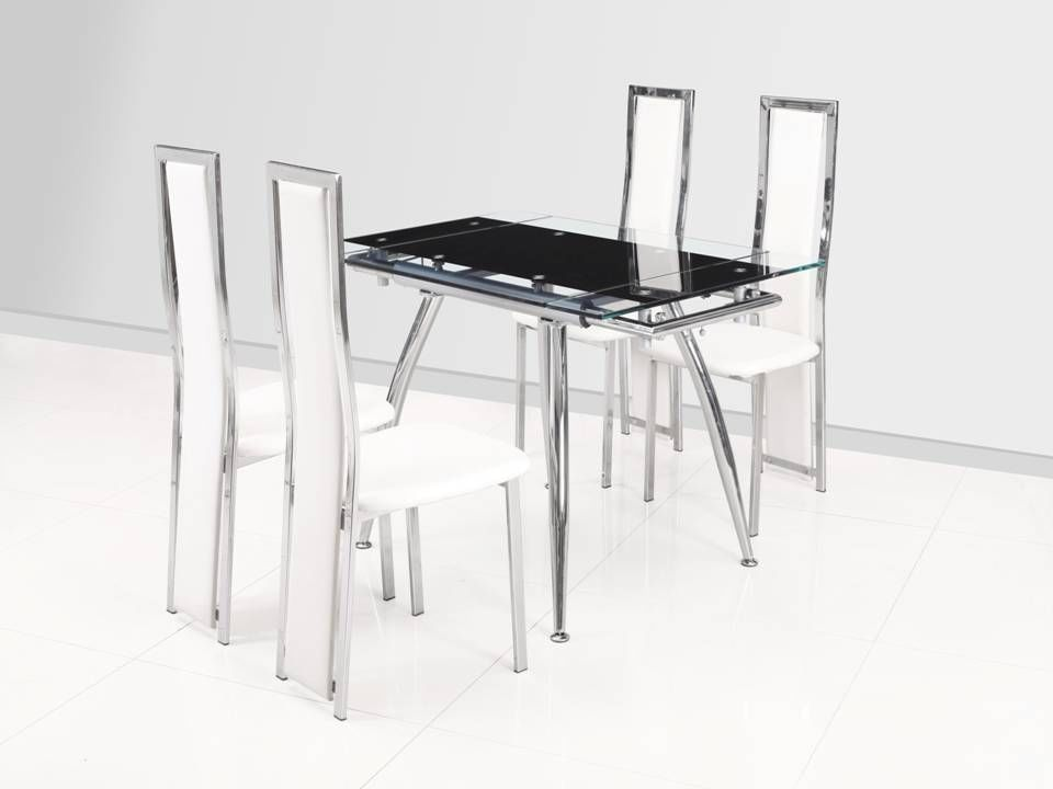 Small Black Extending Glass Dining Table And 4 White Chairs Set