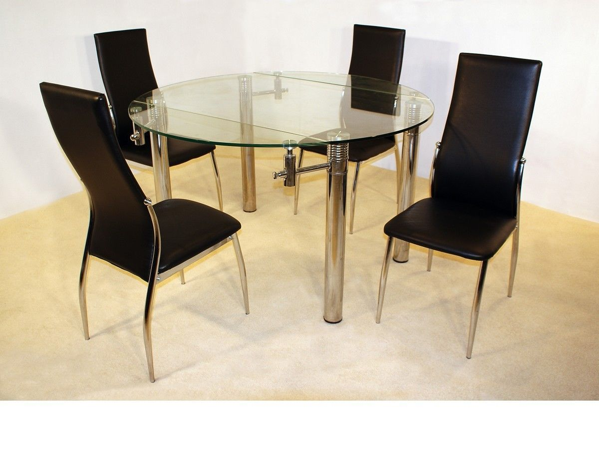 Large 130cm round clear glass dining table 4 chairs for Round glass dining table set