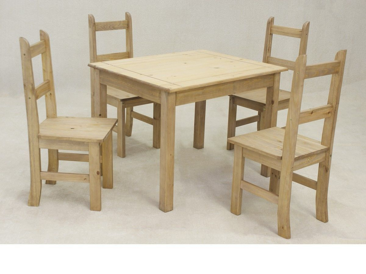 Wooden square solid pine dining table and 4 chairs for Square dining table for 4