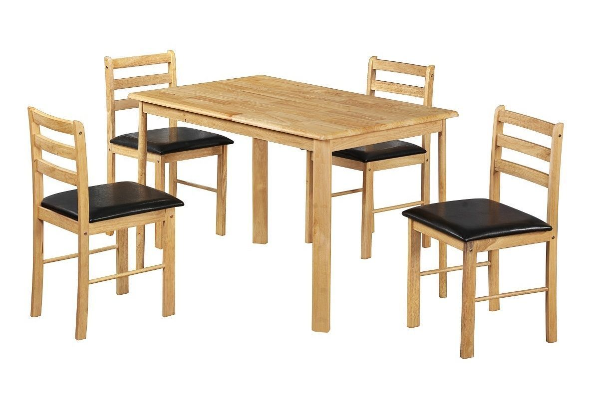 Wooden dining table and 4 chairs homegenies for Wooden dining table set