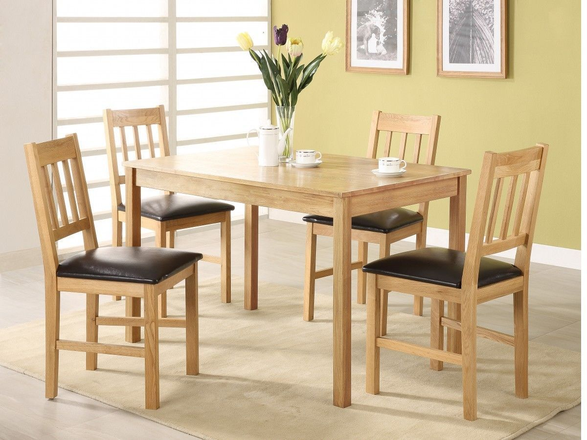 Solid Oak Wooden Dining Table And 4 Chairs Homegenies