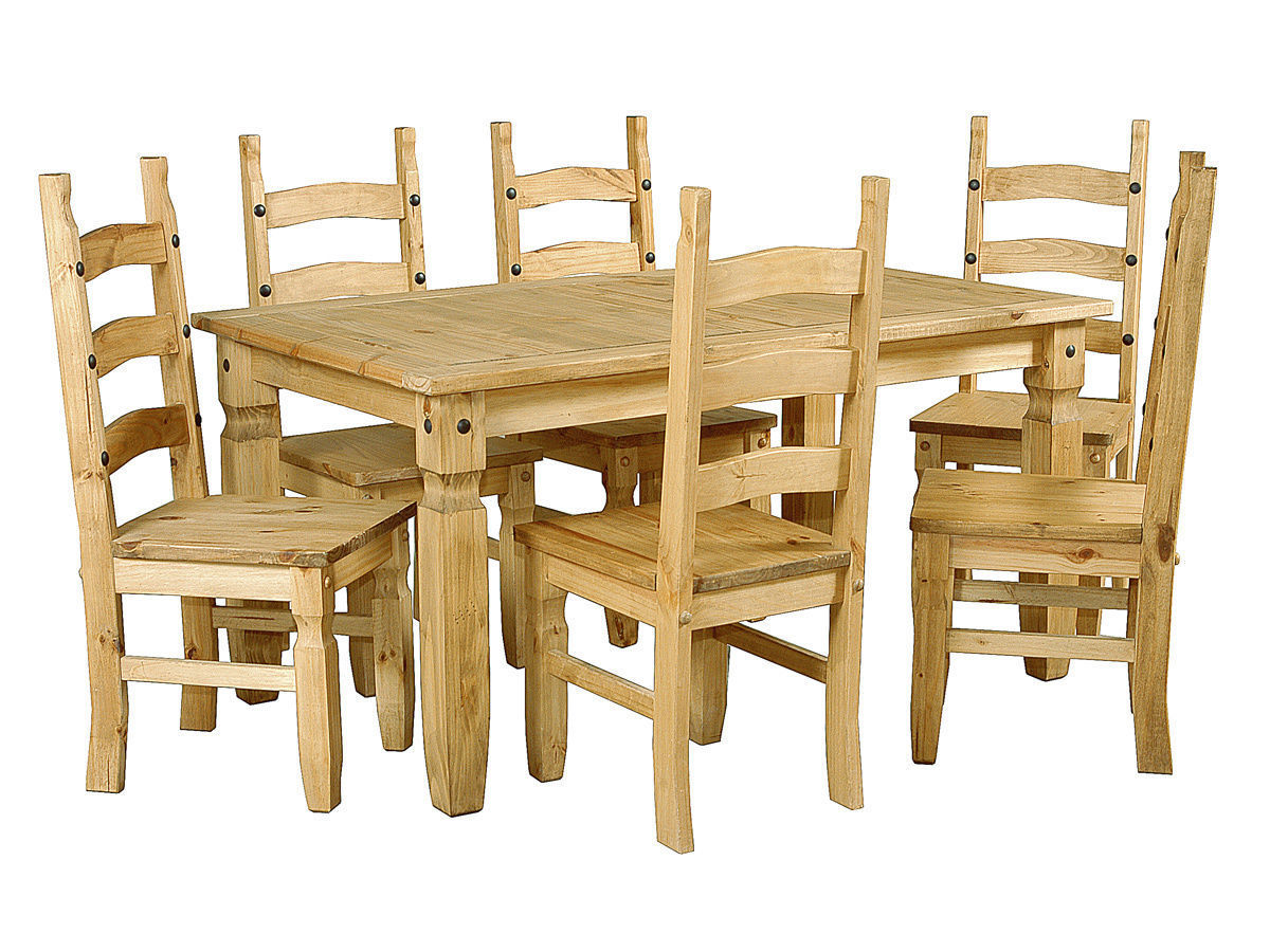 Large pine wooden dining table and 6 chairs homegenies for Pine dining room table