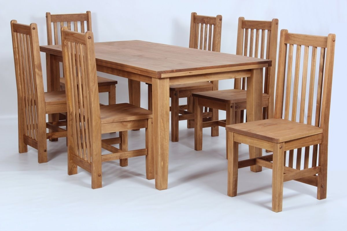Pine Wooden Dining Table And 6 Chairs