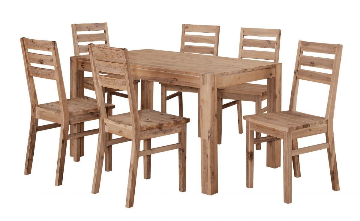 solid acacia wooden dining table and 6 chairs set