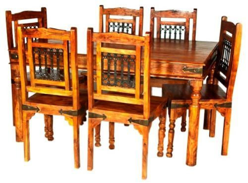 Jaipur Solid Acacia Wooden Dining Table And 6 Chairs