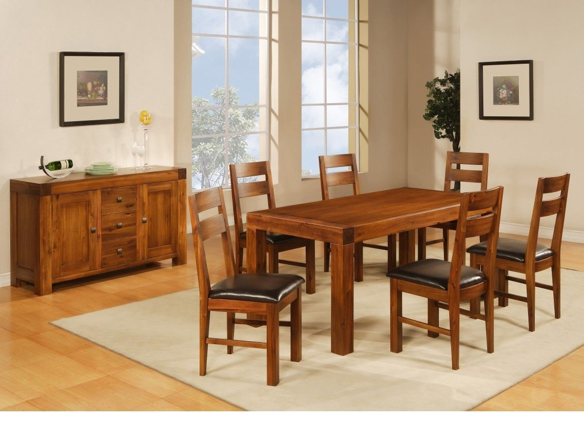 wooden dining table and 6 chairs solid acacia homegenies