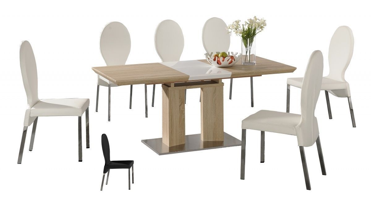 Extending wooden dining table and 6 chairs homegenies for Six chair dining table set