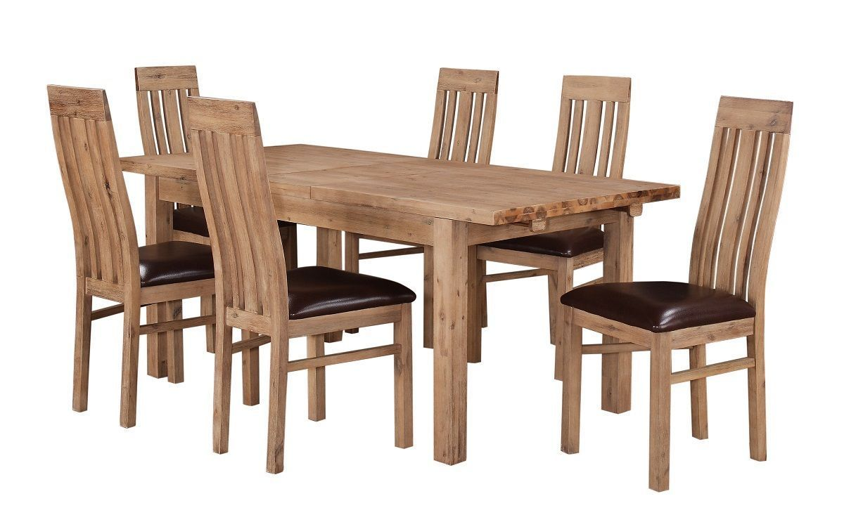 Solid acacia extending wooden dining table 6 chairs for Solid wood dining table sets