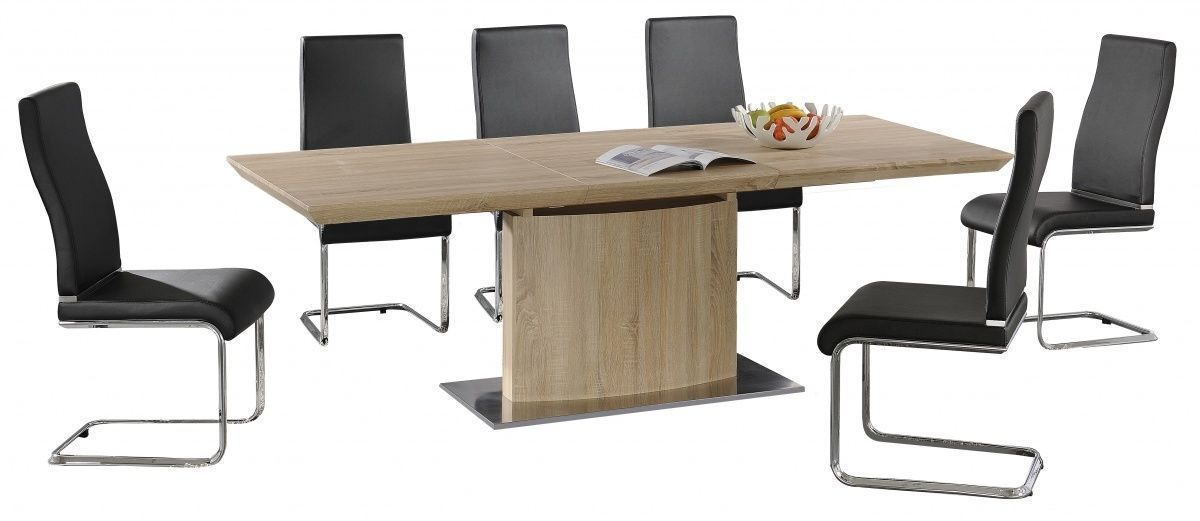 Modern Large Extending Dining Table And 8 Chairs Set