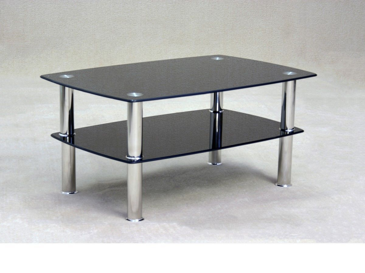 Black glass coffee table with storage shelf homegenies for Black and white glass coffee table