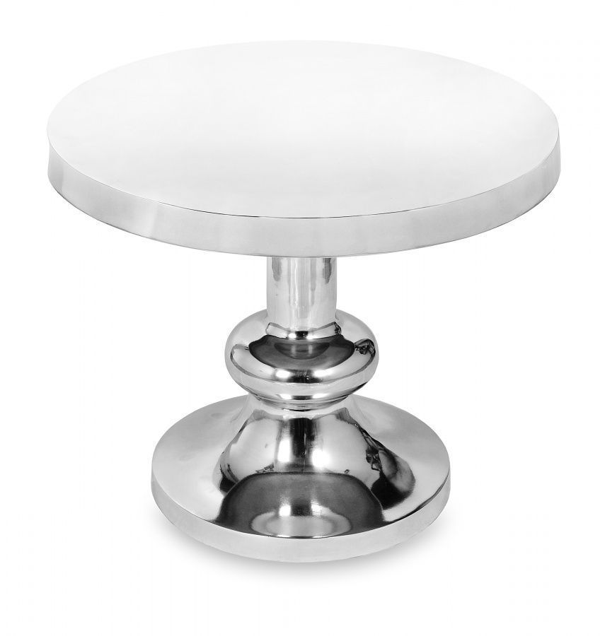 Round side lamp table polished aluminium ref 6 homegenies for Side and lamp tables